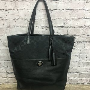 Coach oversized tote Turnlock black leather/canvas
